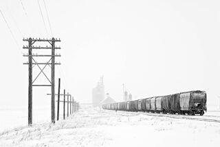 Train and Power Lines, North Dakota