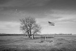 Rural Cemetery and Flag, North Dakota