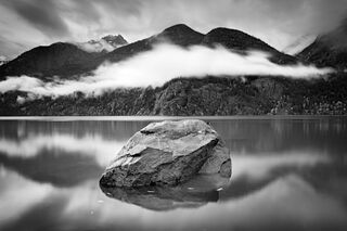 Boulder and Low Clouds, North Cascades National Park