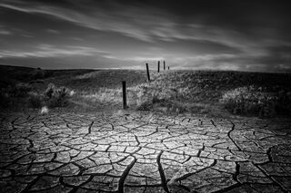 Cracked Mud and Fence, Wyoming