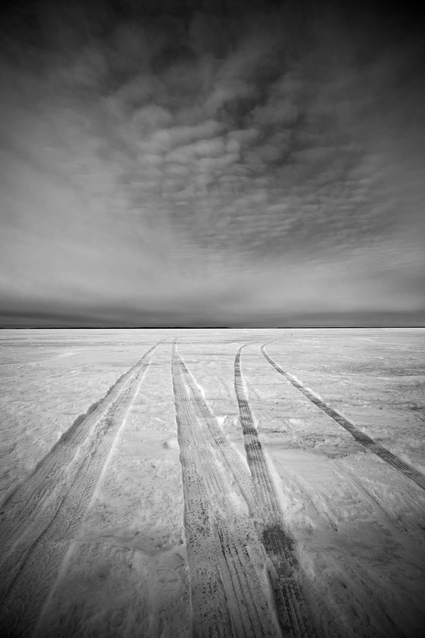 Tire Tracks on the Lake, North Dakota