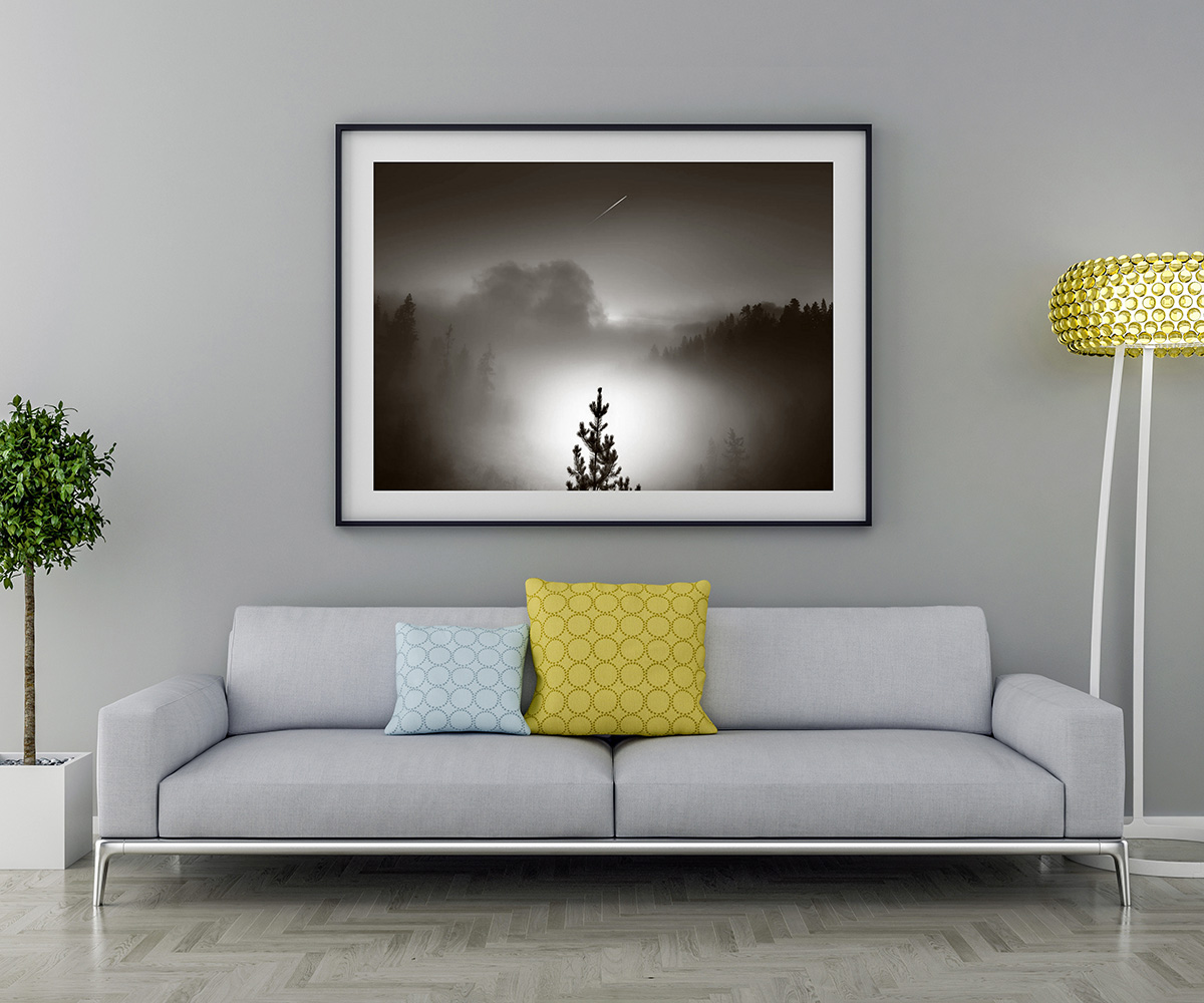 Blank picture frame and sofa with interior plant and lamp. 3D render